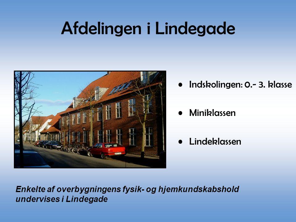 Afdelingen i Lindegade •Indskolingen: 0.- 3. klasse •Miniklassen •Lindeklassen Enkelte af overbygningens fysik- og hjemkundskabshold undervises i Lind