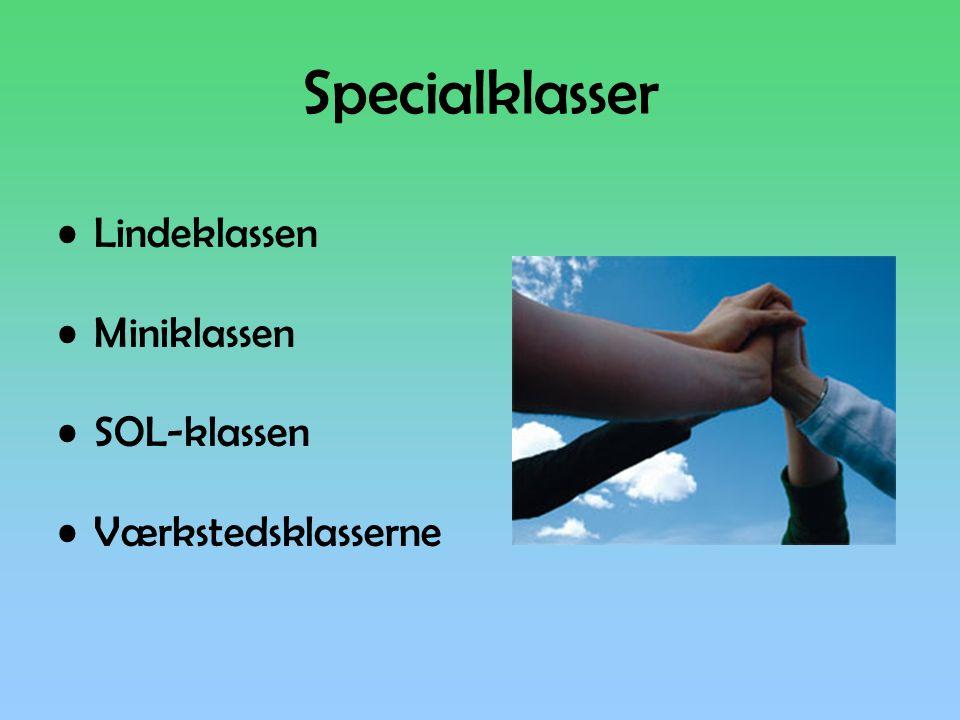 Specialklasser •Lindeklassen •Miniklassen •SOL-klassen •Værkstedsklasserne
