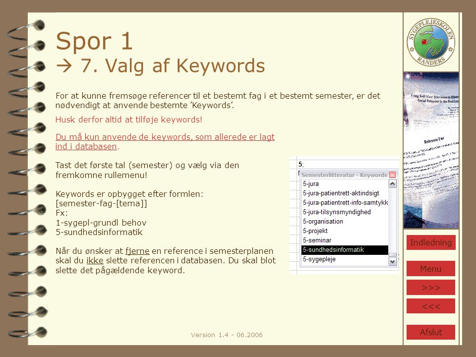 Version 1.4 - 06.2006 Spor 1  7.