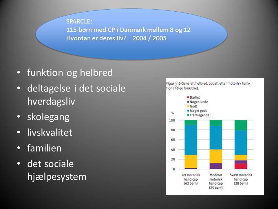 • funktion og helbred • deltagelse i det sociale hverdagsliv • skolegang • livskvalitet • familien • det sociale hjælpesystem SPARCLE: 115 børn med CP i Danmark mellem 8 og 12 Hvordan er deres liv.