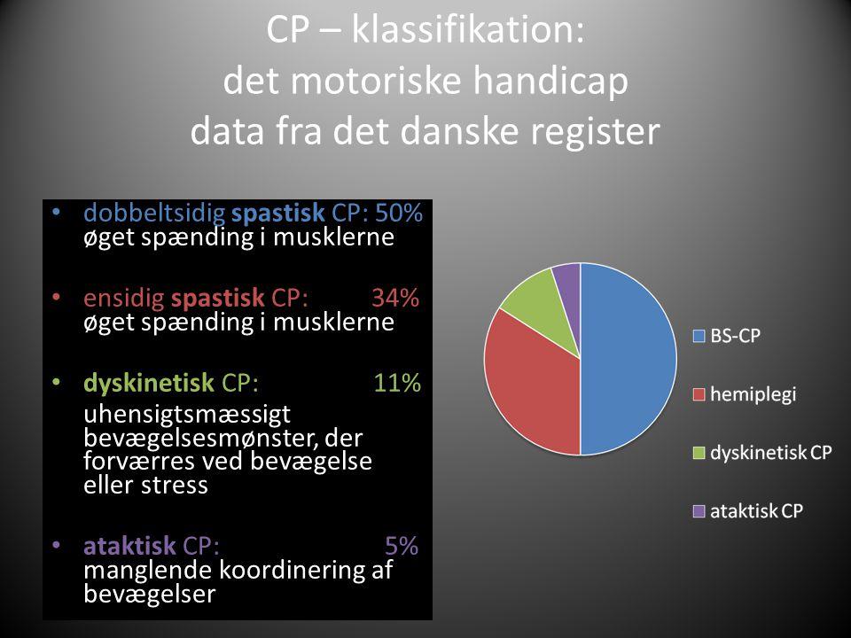 CP – klassifikation: det motoriske handicap data fra det danske register • dobbeltsidig spastisk CP: 50% øget spænding i musklerne • ensidig spastisk CP: 34% øget spænding i musklerne • dyskinetisk CP: 11% uhensigtsmæssigt bevægelsesmønster, der forværres ved bevægelse eller stress • ataktisk CP: 5% manglende koordinering af bevægelser