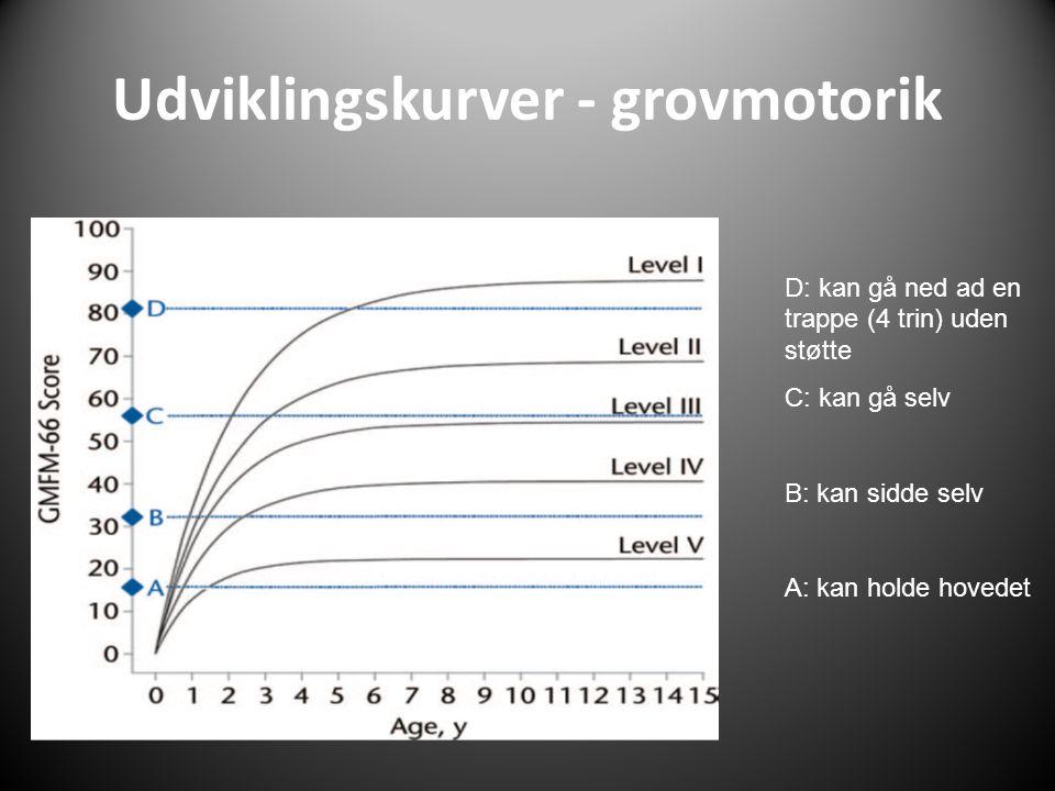 Udviklingskurver - grovmotorik D: kan gå ned ad en trappe (4 trin) uden støtte C: kan gå selv B: kan sidde selv A: kan holde hovedet