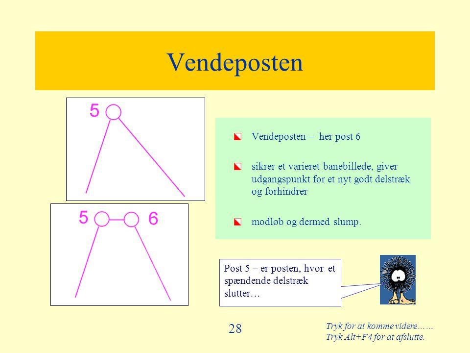 Tryk for at komme videre…… Tryk Alt+F4 for at afslutte. 28 Vendeposten Vendeposten – her post 6 sikrer et varieret banebillede, giver udgangspunkt for