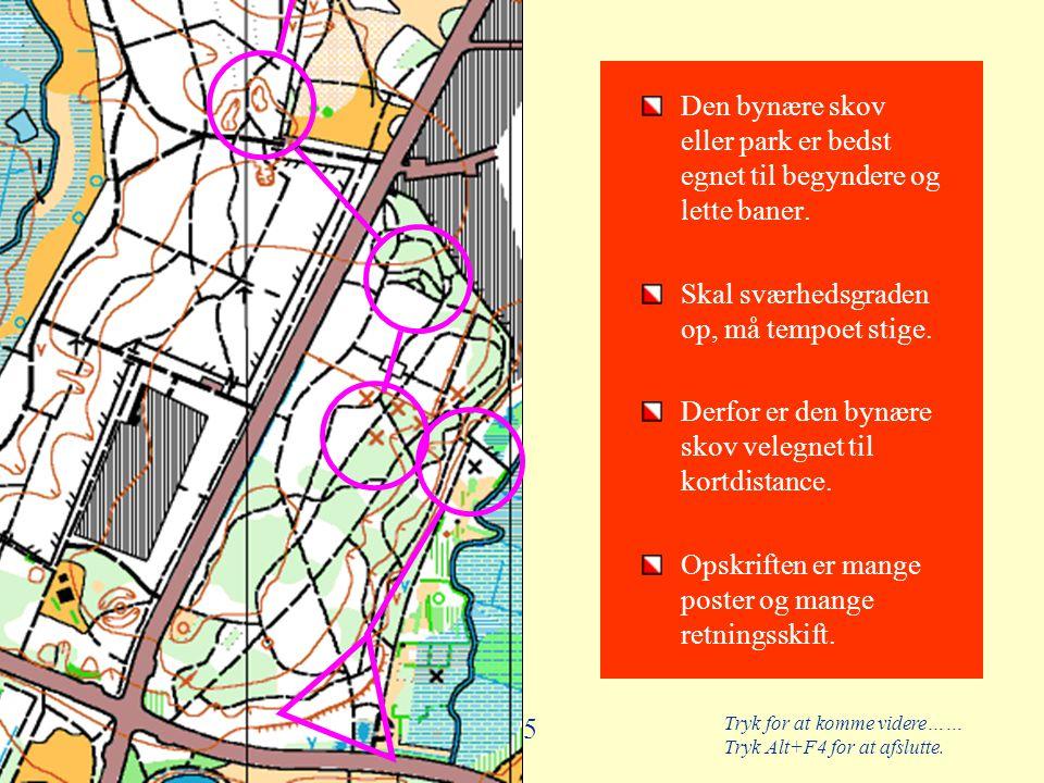 Tryk for at komme videre…… Tryk Alt+F4 for at afslutte. 55 Den bynære skov eller park er bedst egnet til begyndere og lette baner. Skal sværhedsgraden
