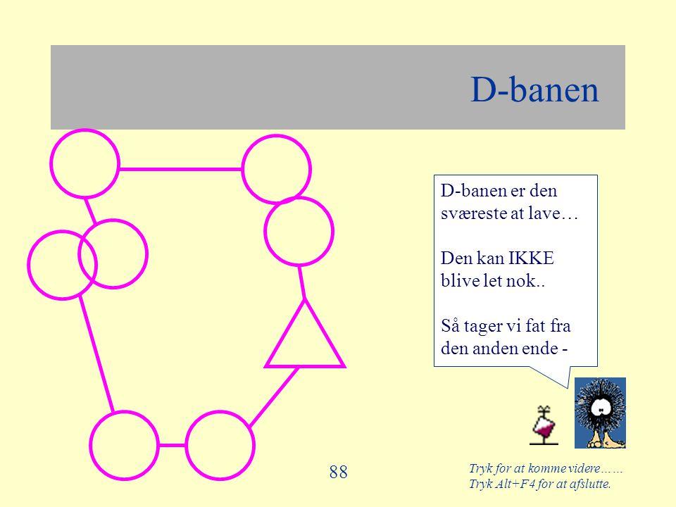 Tryk for at komme videre…… Tryk Alt+F4 for at afslutte. 88 D-banen D-banen er den sværeste at lave… Den kan IKKE blive let nok.. Så tager vi fat fra d