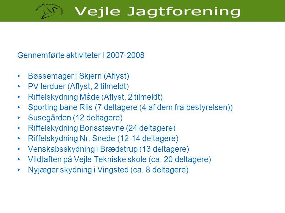 Gennemførte aktiviteter I 2007-2008 •Bøssemager i Skjern (Aflyst) •PV lerduer (Aflyst, 2 tilmeldt) •Riffelskydning Måde (Aflyst, 2 tilmeldt) •Sporting