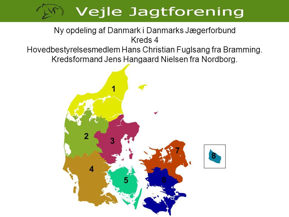 Ny opdeling af Danmark i Danmarks Jægerforbund Kreds 4 Hovedbestyrelsesmedlem Hans Christian Fuglsang fra Bramming. Kredsformand Jens Hangaard Nielsen