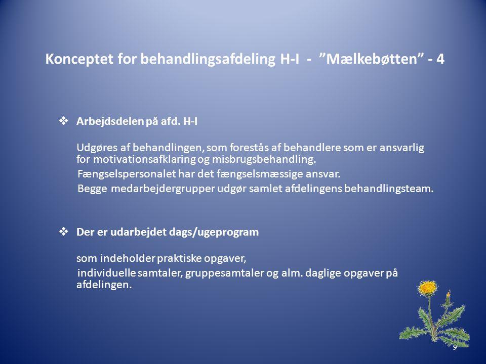 """Konceptet for behandlingsafdeling H-I - """"Mælkebøtten"""" - 4  Arbejdsdelen på afd. H-I Udgøres af behandlingen, som forestås af behandlere som er ansvar"""