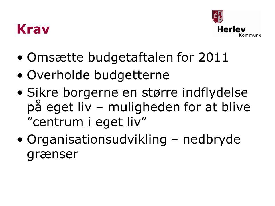 Krav •Omsætte budgetaftalen for 2011 •Overholde budgetterne •Sikre borgerne en større indflydelse på eget liv – muligheden for at blive centrum i eget liv •Organisationsudvikling – nedbryde grænser
