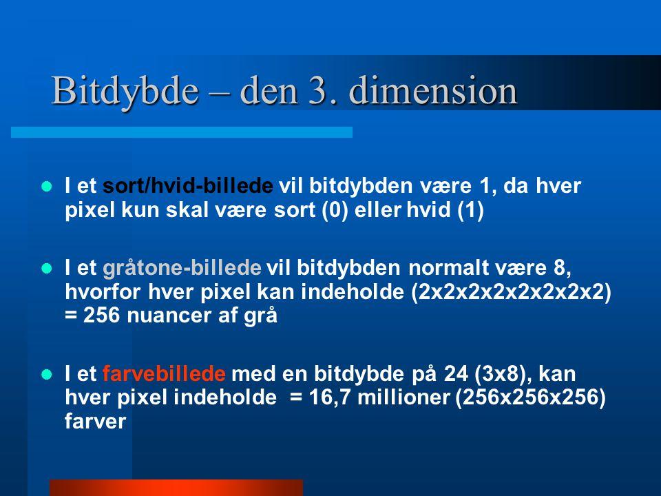 Bit gengivelse sort-hvid  2 bits gengivelse.Kun to nuancer, sort eller hvidt  8 bits gengivelse.