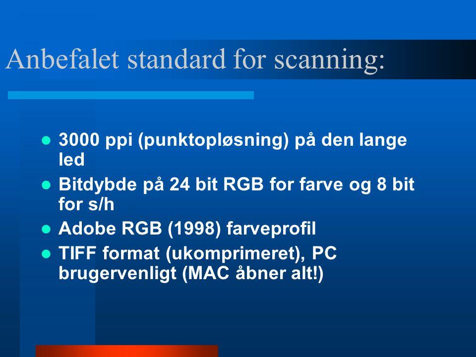 Ved fotografering:  Lav ISO-værdi (minimere støj, grovkornethed )  RAW eller TIFF  Adobe RGB (1998) farveprofil  Højest opløsning muligt