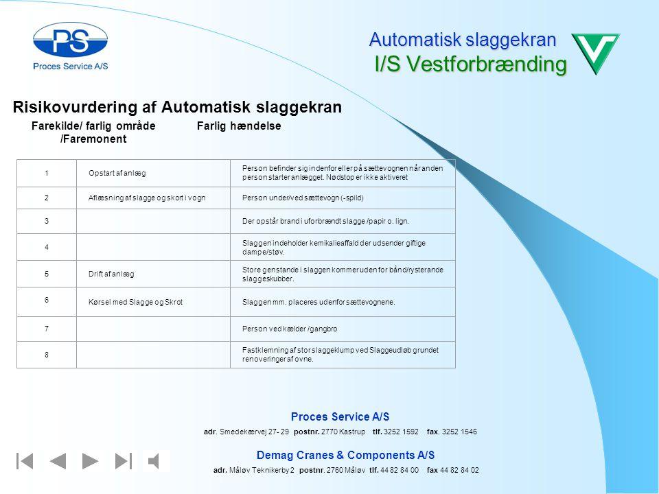 Automatiskes slaggekran I/S Vestforbrænding Demag Cranes & Components A/S adr. Måløv Teknikerby 2 postnr. 2760 Måløv tlf. 44 82 84 00 fax 44 82 84 02