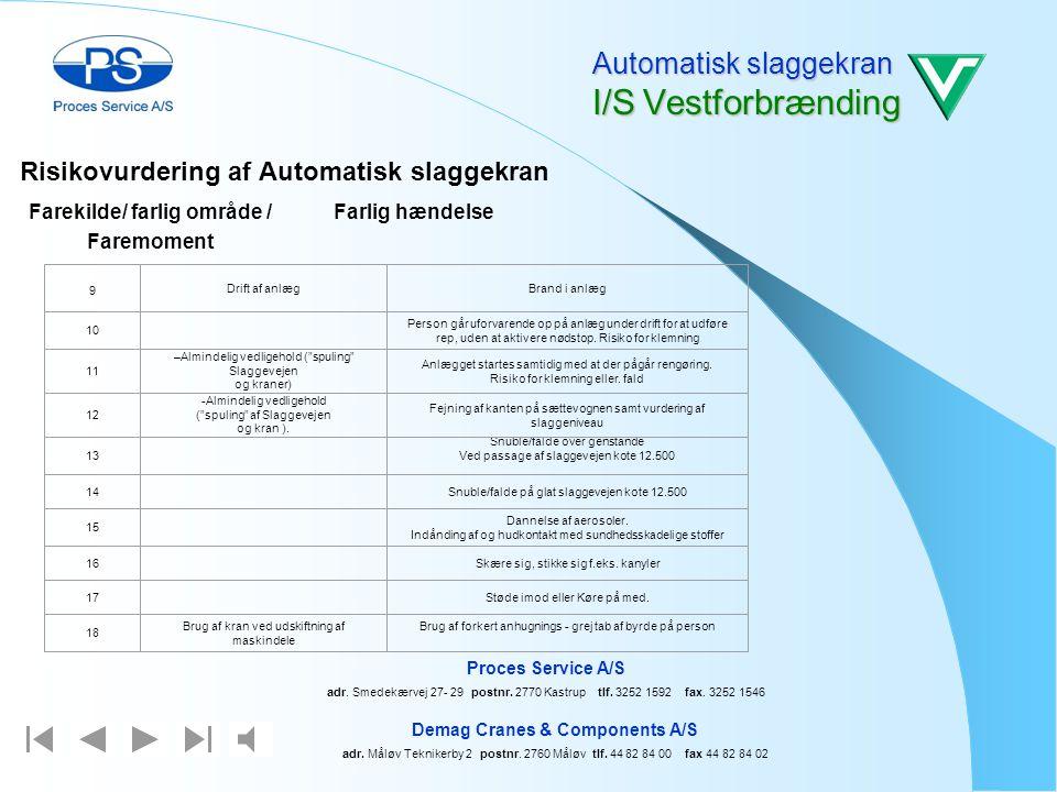 Risikovurdering af Automatisk slaggekran Automatisk slaggekran I/S Vestforbrænding Demag Cranes & Components A/S adr. Måløv Teknikerby 2 postnr. 2760