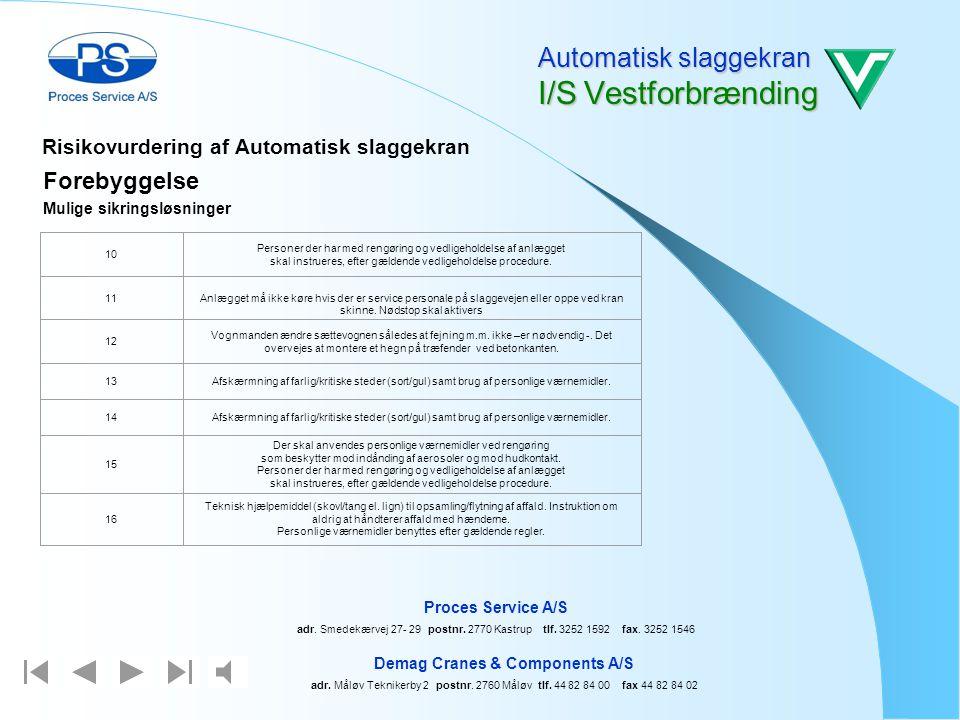 Automatisk slaggekran I/S Vestforbrænding Demag Cranes & Components A/S adr. Måløv Teknikerby 2 postnr. 2760 Måløv tlf. 44 82 84 00 fax 44 82 84 02 Pr