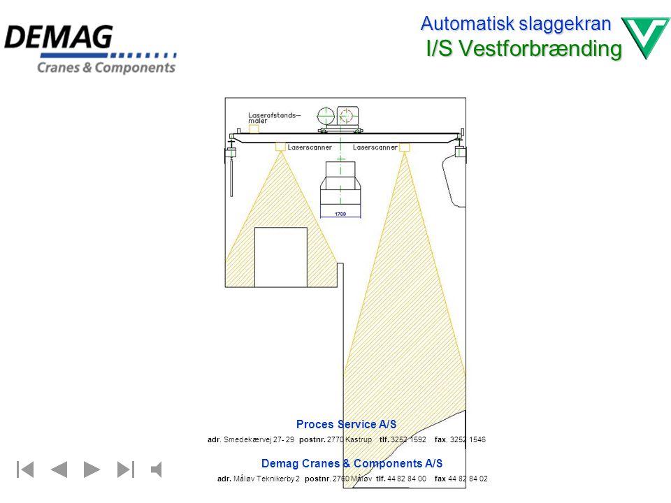 Automatisk slaggekran I/S Vestforbrænding Automatisering af slaggekran HSK 30 Indholdsfortegnelse 1.Tegning : Scanner på kranbro. 2.Tegning : Sikkerhe