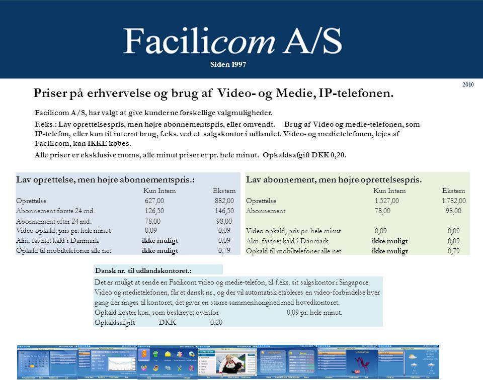2010 Siden 1997 Priser på erhvervelse og brug af Video- og Medie, IP-telefonen.