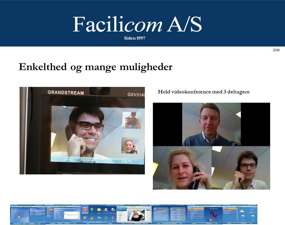 Hold videokonference med 3 deltagere Enkelthed og mange muligheder 2010 Siden 1997