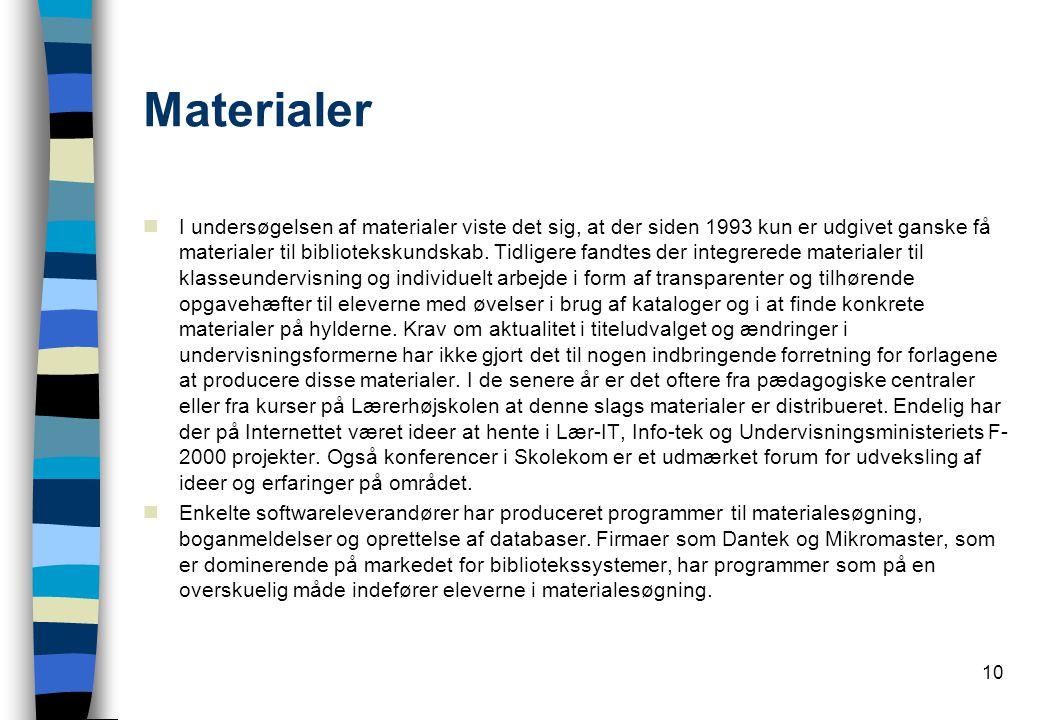 10 Materialer  I undersøgelsen af materialer viste det sig, at der siden 1993 kun er udgivet ganske få materialer til bibliotekskundskab.