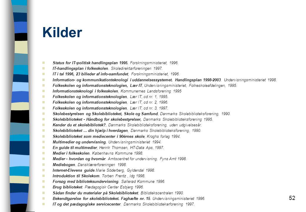 52 Kilder  Status for IT-politisk handlingsplan 1995, Forskningsministeriet, 1996.