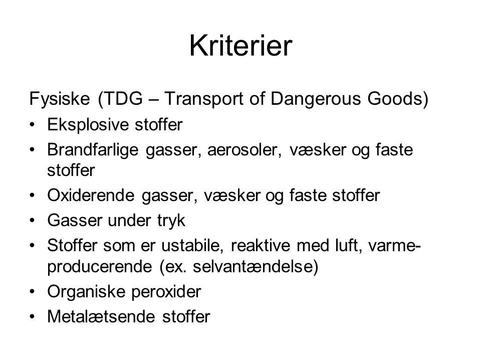 Kriterier Fysiske (TDG – Transport of Dangerous Goods) •Eksplosive stoffer •Brandfarlige gasser, aerosoler, væsker og faste stoffer •Oxiderende gasser