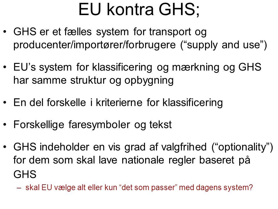 """EU kontra GHS; •GHS er et fælles system for transport og producenter/importører/forbrugere (""""supply and use"""") •EU's system for klassificering og mærkn"""