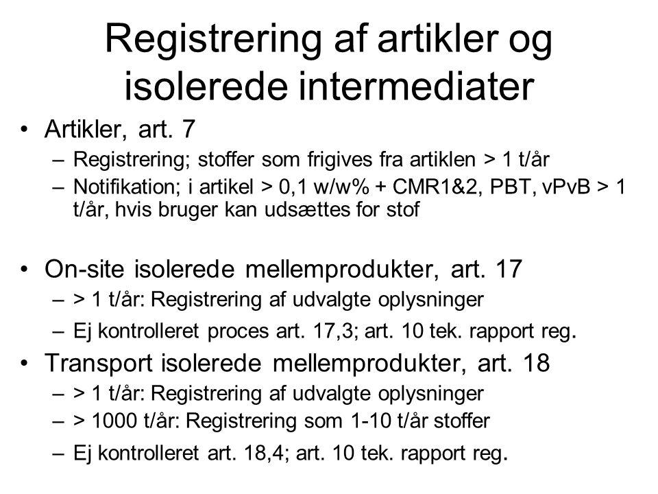 Registrering af artikler og isolerede intermediater •Artikler, art. 7 –Registrering; stoffer som frigives fra artiklen > 1 t/år –Notifikation; i artik