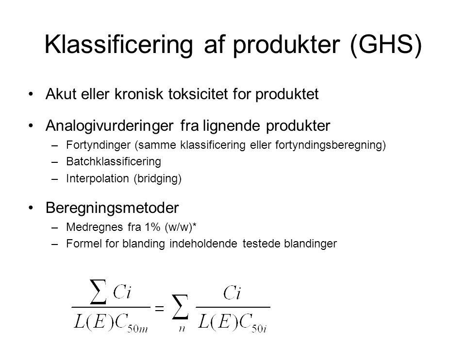 Klassificering af produkter (GHS) •Akut eller kronisk toksicitet for produktet •Analogivurderinger fra lignende produkter –Fortyndinger (samme klassif
