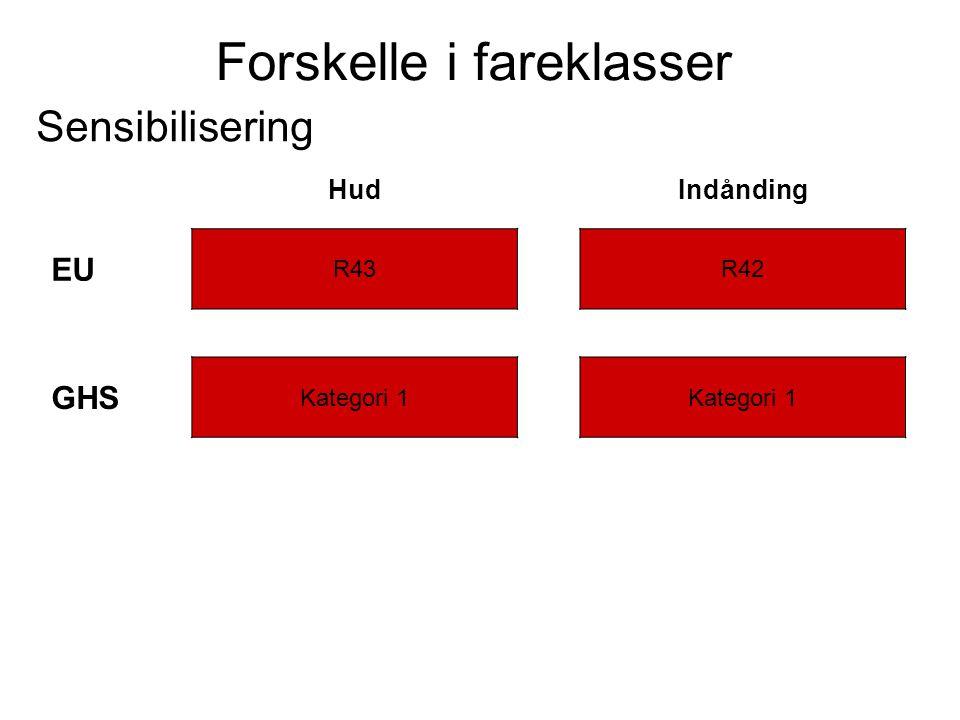 Forskelle i fareklasser Sensibilisering HudIndånding EU R43R42 GHS Kategori 1