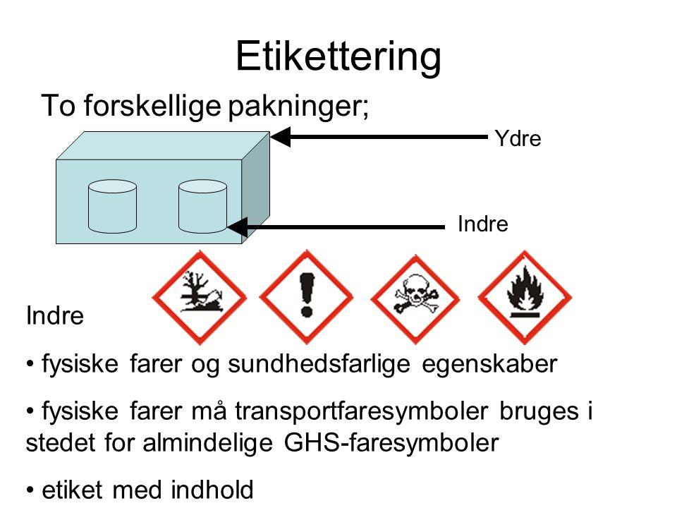 Etikettering To forskellige pakninger; Ydre Indre • fysiske farer og sundhedsfarlige egenskaber • fysiske farer må transportfaresymboler bruges i sted