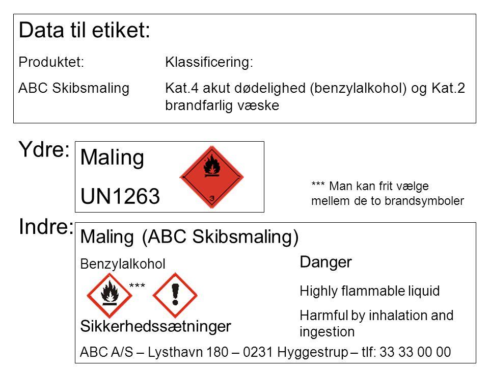 Data til etiket: Produktet:Klassificering: ABC SkibsmalingKat.4 akut dødelighed (benzylalkohol) og Kat.2 brandfarlig væske Ydre: Maling UN1263 Indre: