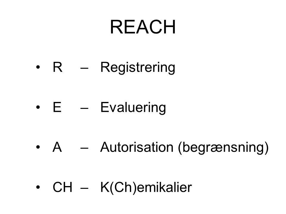 REACH •R – Registrering •E – Evaluering •A – Autorisation (begrænsning) •CH – K(Ch)emikalier