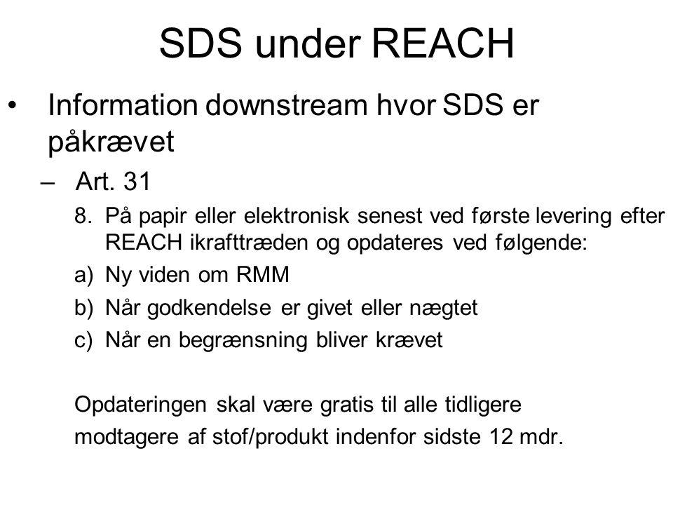 SDS under REACH •Information downstream hvor SDS er påkrævet –Art. 31 8.På papir eller elektronisk senest ved første levering efter REACH ikrafttræden