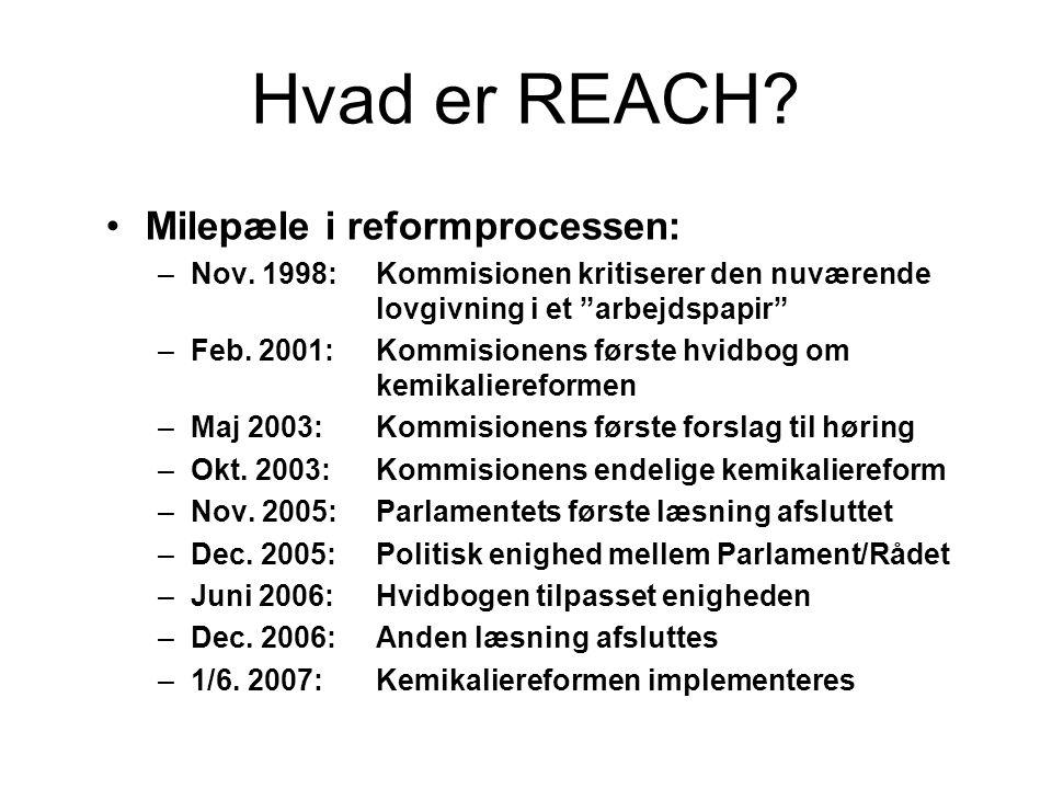 """Hvad er REACH? •Milepæle i reformprocessen: –Nov. 1998:Kommisionen kritiserer den nuværende lovgivning i et """"arbejdspapir"""" –Feb. 2001: Kommisionens fø"""