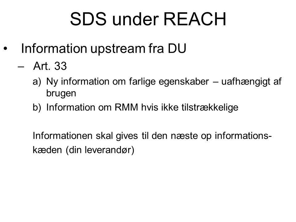 SDS under REACH •Information upstream fra DU –Art. 33 a)Ny information om farlige egenskaber – uafhængigt af brugen b)Information om RMM hvis ikke til