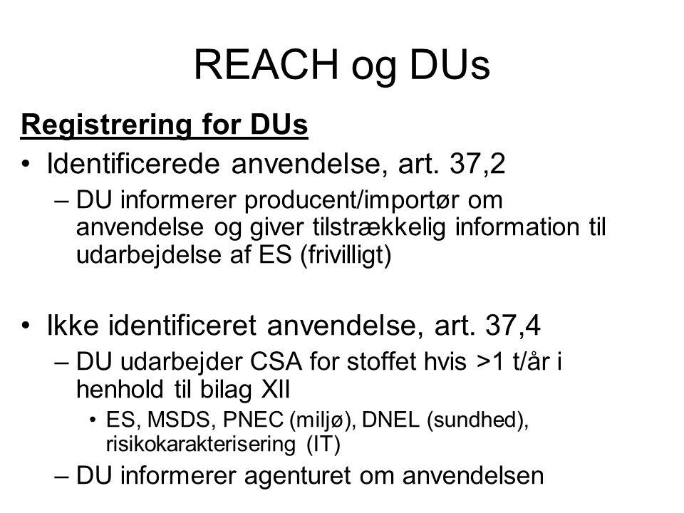 REACH og DUs Registrering for DUs •Identificerede anvendelse, art. 37,2 –DU informerer producent/importør om anvendelse og giver tilstrækkelig informa