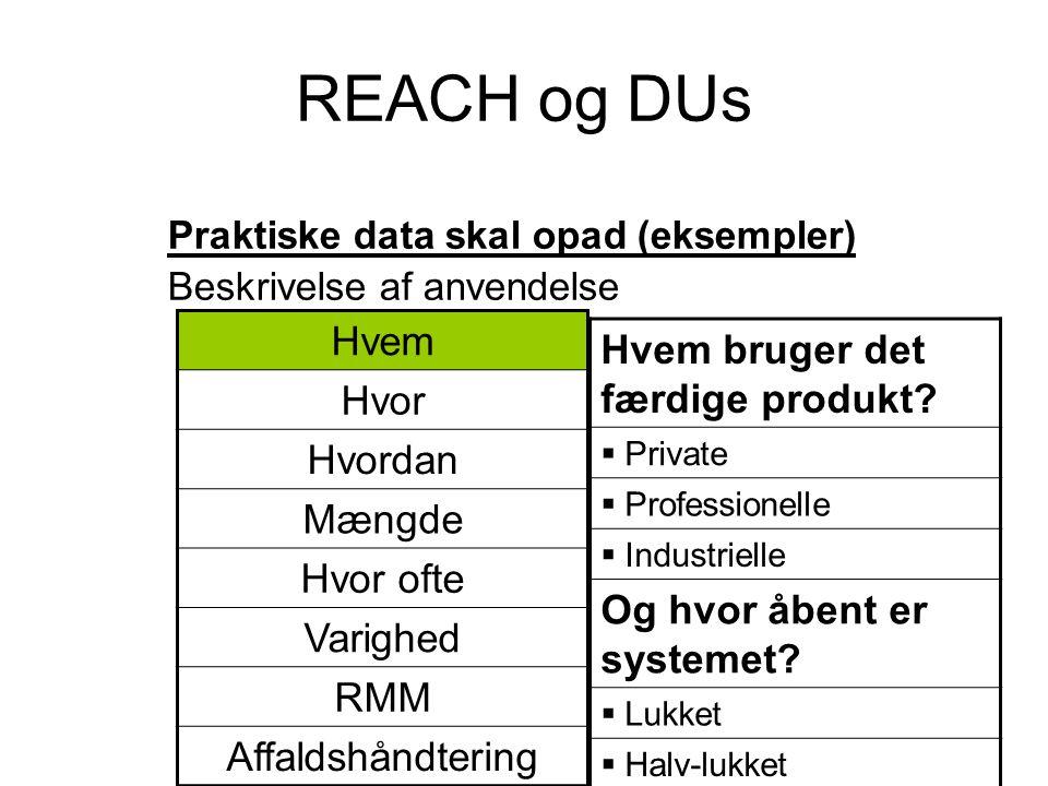 REACH og DUs Praktiske data skal opad (eksempler) Beskrivelse af anvendelse Hvem bruger det færdige produkt?  Private  Professionelle  Industrielle