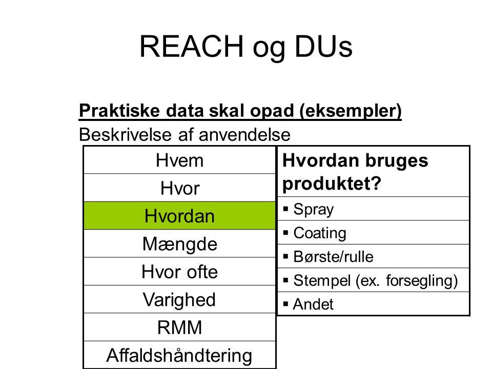 REACH og DUs Praktiske data skal opad (eksempler) Beskrivelse af anvendelse Hvordan bruges produktet?  Spray  Coating  Børste/rulle  Stempel (ex.