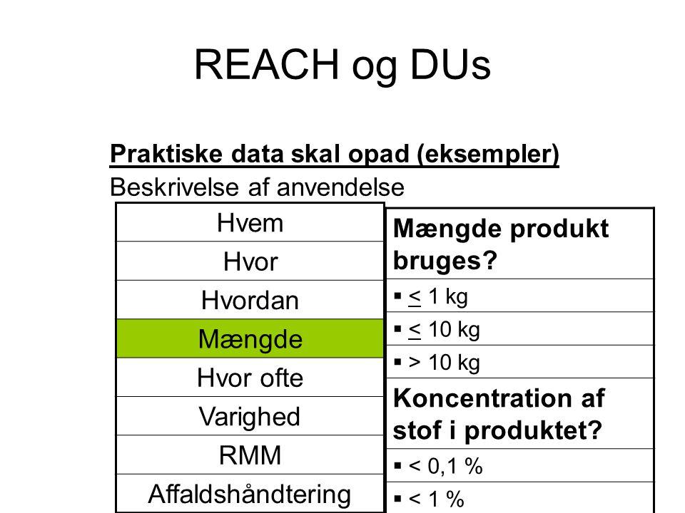 REACH og DUs Praktiske data skal opad (eksempler) Beskrivelse af anvendelse Mængde produkt bruges?  < 1 kg  < 10 kg  > 10 kg Koncentration af stof