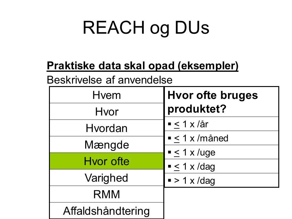 REACH og DUs Praktiske data skal opad (eksempler) Beskrivelse af anvendelse Hvor ofte bruges produktet?  < 1 x /år  < 1 x /måned  < 1 x /uge  < 1