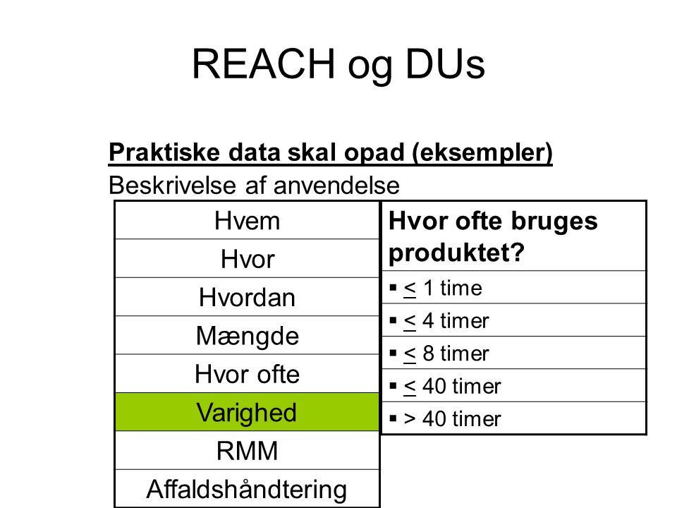 REACH og DUs Praktiske data skal opad (eksempler) Beskrivelse af anvendelse Hvor ofte bruges produktet?  < 1 time  < 4 timer  < 8 timer  < 40 time