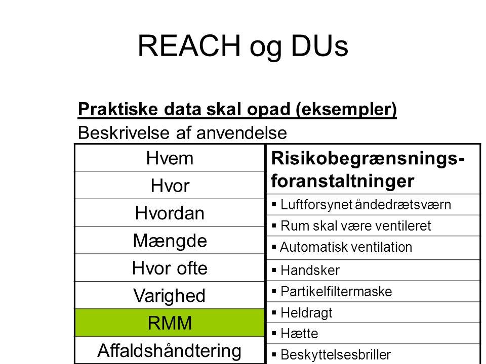 REACH og DUs Praktiske data skal opad (eksempler) Beskrivelse af anvendelse Risikobegrænsnings- foranstaltninger  Luftforsynet åndedrætsværn  Rum sk
