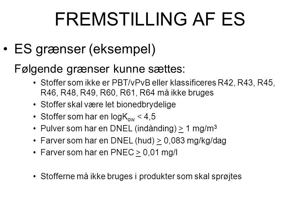 FREMSTILLING AF ES •ES grænser (eksempel) Følgende grænser kunne sættes: •Stoffer som ikke er PBT/vPvB eller klassificeres R42, R43, R45, R46, R48, R4