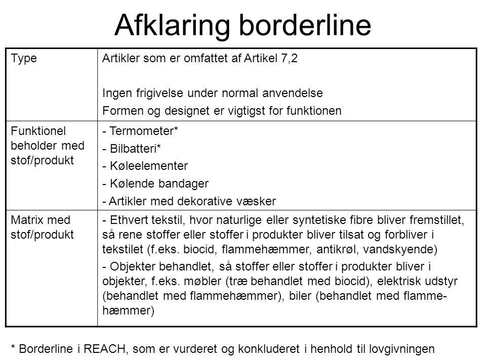 Afklaring borderline TypeArtikler som er omfattet af Artikel 7,2 Ingen frigivelse under normal anvendelse Formen og designet er vigtigst for funktione