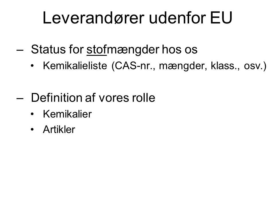 Leverandører udenfor EU –Status for stofmængder hos os •Kemikalieliste (CAS-nr., mængder, klass., osv.) –Definition af vores rolle •Kemikalier •Artikl