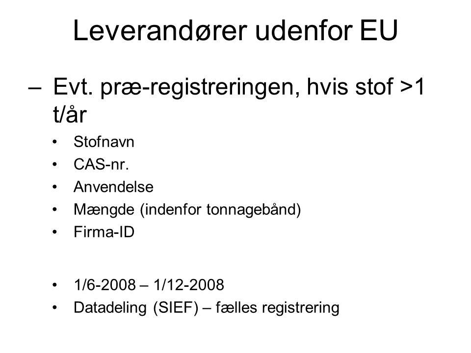 Leverandører udenfor EU –Evt. præ-registreringen, hvis stof >1 t/år •Stofnavn •CAS-nr. •Anvendelse •Mængde (indenfor tonnagebånd) •Firma-ID •1/6-2008