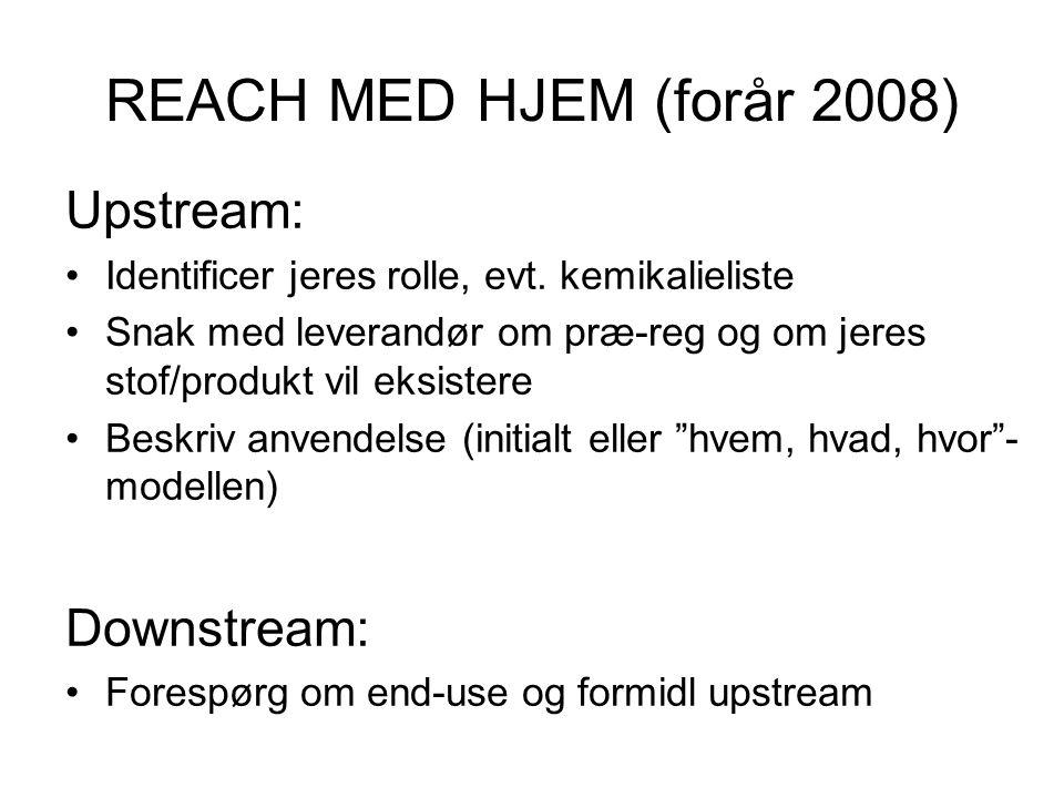 REACH MED HJEM (forår 2008) Upstream: •Identificer jeres rolle, evt. kemikalieliste •Snak med leverandør om præ-reg og om jeres stof/produkt vil eksis