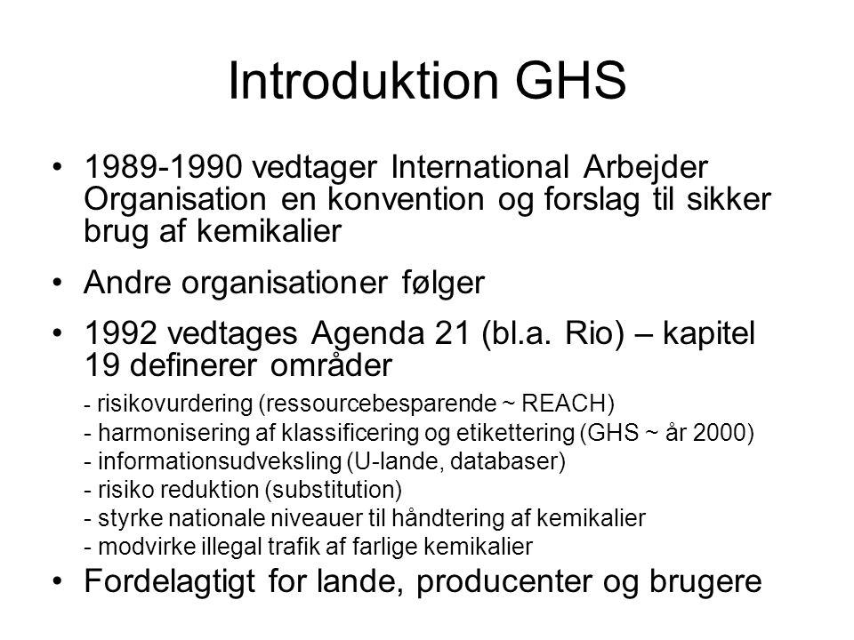 Introduktion GHS •1989-1990 vedtager International Arbejder Organisation en konvention og forslag til sikker brug af kemikalier •Andre organisationer