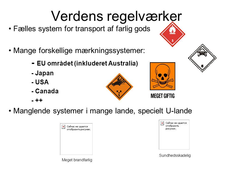 • Fælles system for transport af farlig gods • Mange forskellige mærkningssystemer: - EU området (inkluderet Australia) - Japan - USA - Canada - ++ •