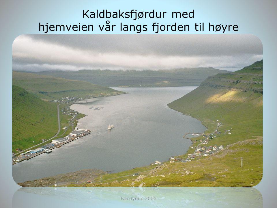 Færøyene 200622 Kaldbaksfjørdur med hjemveien vår langs fjorden til høyre