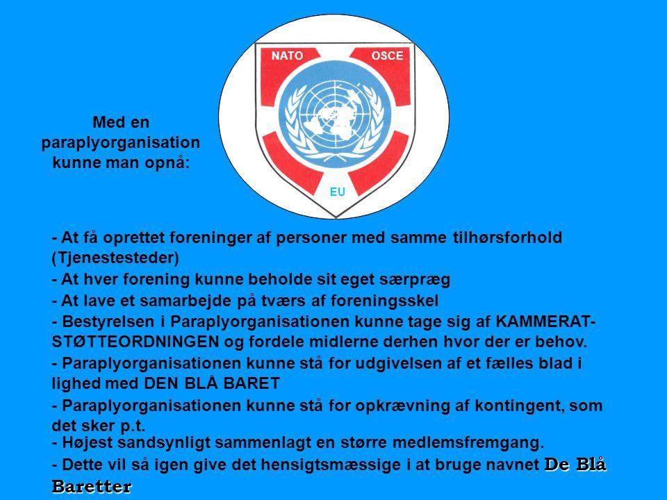 NATOOSCE EU Med en paraplyorganisation kunne man opnå: - At få oprettet foreninger af personer med samme tilhørsforhold (Tjenestesteder) - At hver for